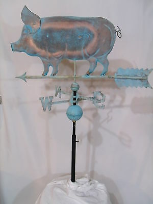 LARGE Copper PIG Weathervane  Patina Finish with FREE ROOF MOUNT !!!