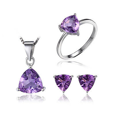 JewelryPalace Billion 4.6ct Natur Lila Amethyst Birthstone Solitaire Schmuck-Set