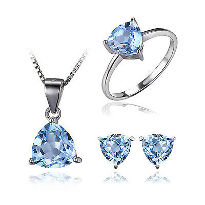 JewelryPalace Natur Sky Blue Topaz Birthstone -Schmuck-Set 925 Sterlingsilber