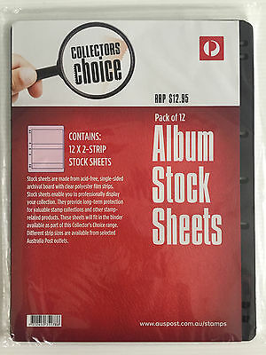 New Australia Post Collectors Choice 12 Pack 7 Hole 2 Strip Stock Album Sheets