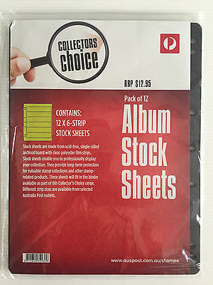 New Australia Post Collectors Choice 12 Pack 7 Hole 6 Strip Stock Album Sheets