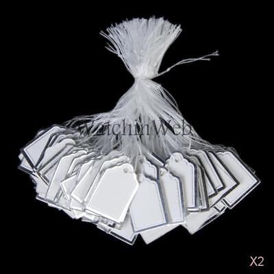 1000pcs Silver Border Label Tie String Strung Jewelry Display Paper Price Tags