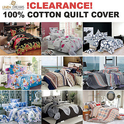 All Size Bedding Doona Quilt Duvet Cover Set 100% Cotton Clearance Sale