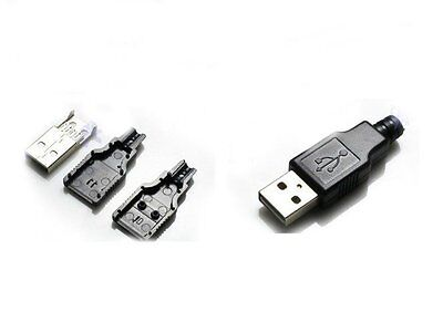 10PCS USB Male Connector USB Plug USB Male Connector A Type 4P with Shell