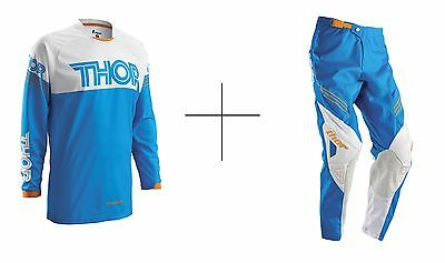 Thor Phase Hyperion MX Enduro MTB BMX Combo Hose Shirt Pant Fox Orange Blau KTM