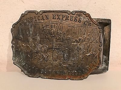 Vintage American Express Wells Fargo Large Solid Brass Belt Buckle RARE