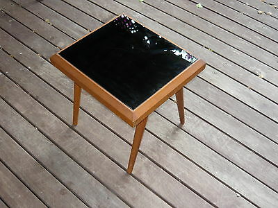 Classic 60s Black Glass Vintage Coffee Side table w/ Retro Tapered Timber Legs