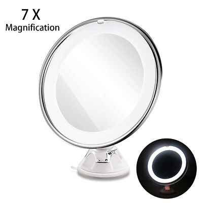 RUIMIO 7x Magnifying Lighted LED Cosmetic Shaving Makeup Mirror with Suction Cup