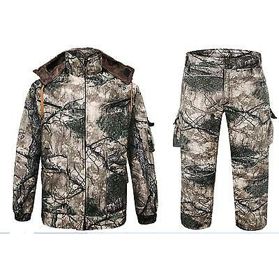 Men Outdoor Winter Camo Hunting Suits Clothing Fleece Jacket Coat Camo Trousers