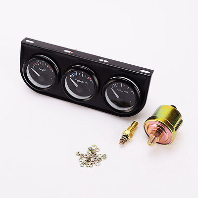 3 in 1 52mm Triple Dash Car Gauge VoltMeter + Water Temp Gauge + Oil press Gauge