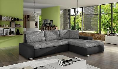 New Cascina Fabric Leather Corner Sofa Bed With Storage Black Grey Or White Grey