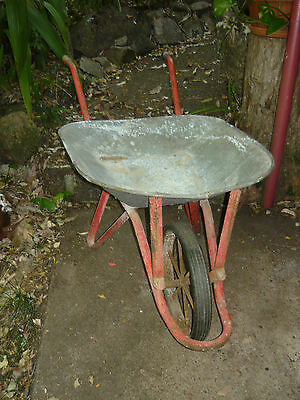 Vintage Iron Wheel WHEELBARROW ~ Garden FLOWERS HERBS Rustic Display Cart