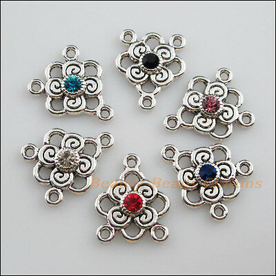 6 New Tibetan Silver Charms Mixed Crystal Flower Pendants Connectors 17x20.5mm