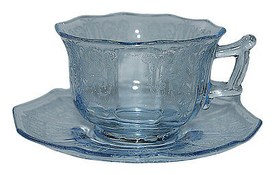 Cambridge Cleo Willow Blue Decagon Shape Cup and Saucer