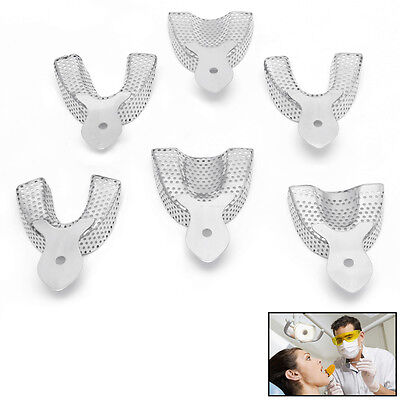 6pcs/Pack Dental Autoclavable metal Impression Trays Stainless Steel Upper Lower