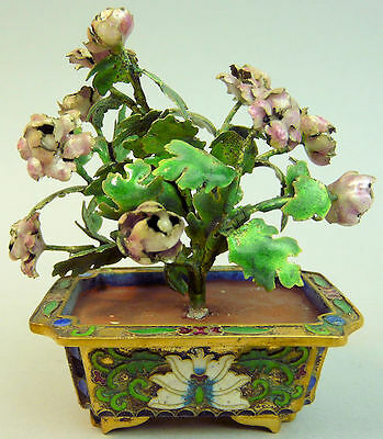 ANTIQUE CHINESE SILVER & ENAMEL FLOWERING PLATE & CLOISONNE JARDINIERE 19th C