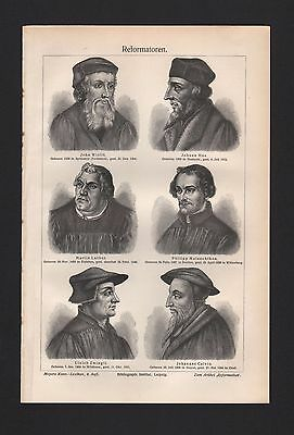 Lithografie 1908: Reformatoren. Wiclif Hus M. Luther Zwingli Calvin Melanchthon