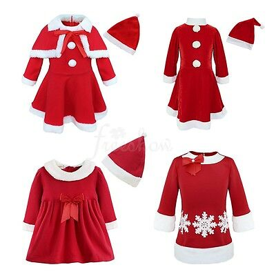 Baby Kids Girls Christmas Santa Claus Fancy Costume Party Fairy Elf Dress Outfit