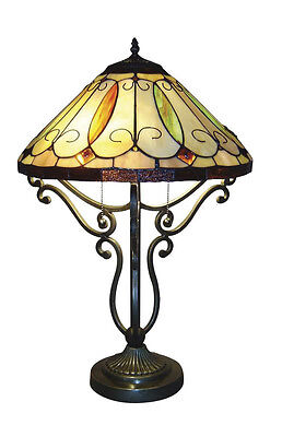 """Tiffany Style Stained Cut Handcrafted Arroyo Table Lamp 16"""" Shade"""