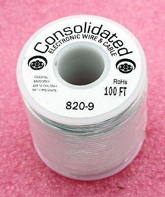 Stranded Core WHITE Wire 20 Gauge 100ft Spool (820_9)