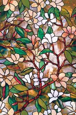 Magnolia Window Film 24-By-36-Inch Visual Effect Textured Stained Glass Durable