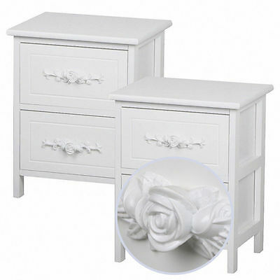Pair of Shabby Chic Rose Handle Bedside Wooden Table Cabinets 2 Drawer White