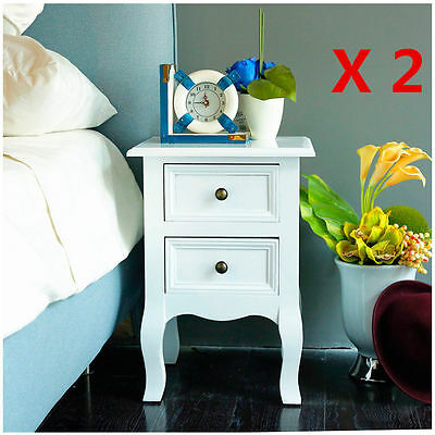 Pair Of Wooden Bedside Tables/cabinets/nightstands Furniture 2 Drawers - Bedroom