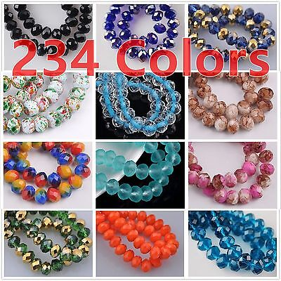60pcs 8x6mm Rondelle Faceted Crystal Glass Loose Beads Jewelry Crafts Pendant