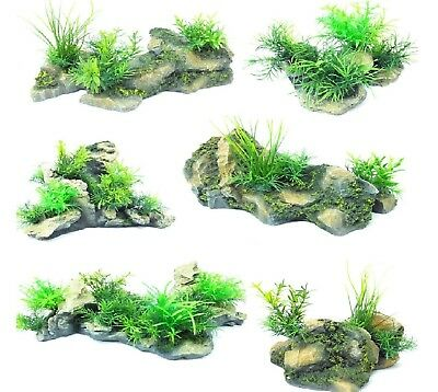 ROCK & PLANT ORNAMENT - Fish Aquarium Tank Decoration Aqua Pet Reptile PawMits