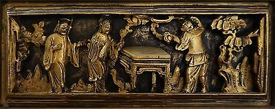 """Fine Large 17"""" Late 1800 to Early 1900 Gilded Chinese Temple Wood Wall Carving"""