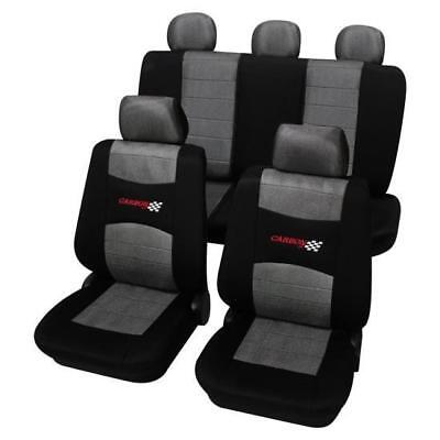 Grey & Black Washable Car Seat Covers - For Vauxhall Corsa D 2006 Onwards
