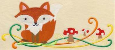 Embroidered Quilt Block or Cushion Panel 'Autumn Fox'  100% Cotton