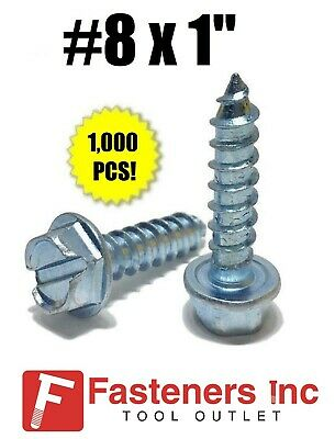 """(Qty 1000) #8 x 1"""" Hex Washer Head Slotted Sheet Metal Screw Zinc Plated"""