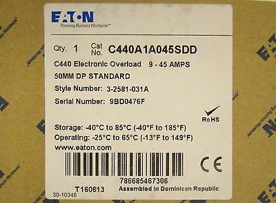 EATON CUTLER HAMMER C440A1A045SDD C440 Electronic Overload Relay 3 2581 031A