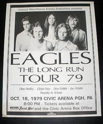 Rare The Eagles Long Run 1979 Vintage Repro Music Concert Tour Display Poster