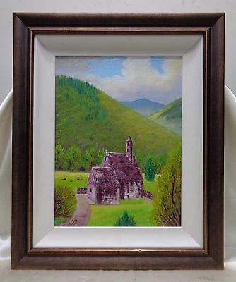 beautiful scottish landscape oil painting on canvas panel w antique style frame