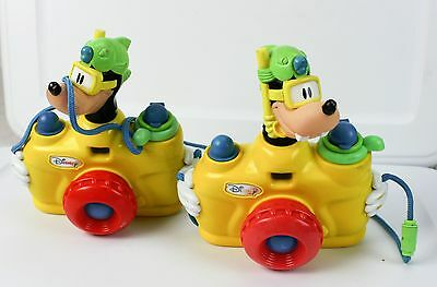 Lot of 2 Vintage Disney Goofy Squirting Water Toy Cameras With Straps Cord