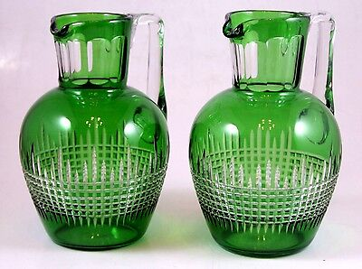 Bohemian Glass Pair of Green Pitchers
