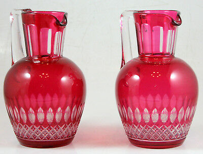 Bohemian Glass Pair of Red Pitchers