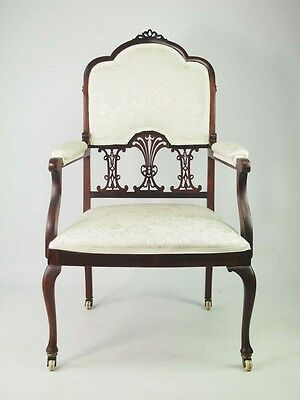 Antique Edwardian Bedroom Chair -Vintage Mahogany Open Armchair Hall Desk Chair