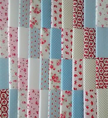40 Five Inch 100% Cotton Fabric Charm Squares Patchwork Quilting Sew Blue Pink
