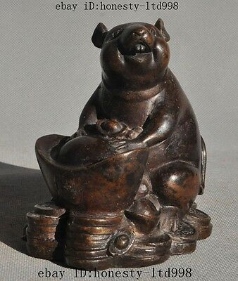 Lucky Chinese Fengshui Bronze Wealth yuanbao Money Zodiac Rat Mice Mouse Statue