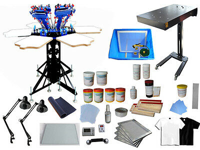 Silk Screen Printing Kit 6 Color 6 Station Press & Flash Dryer /Squeegee /Frame