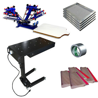 4 Color 1 Station Screen Printing Press with Dryer & Stretched Frame /Squeegees