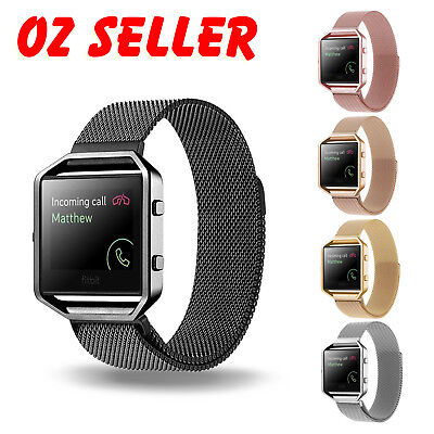 Milanese Magnetic Wrist Band Bracelet Strap + Metal Frame For Fitbit Blaze Watch