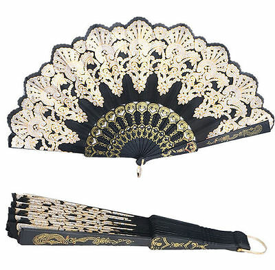 Dance Party Folding Black Silk Flower Wedding Spanish Style Hand Held Fans Lace