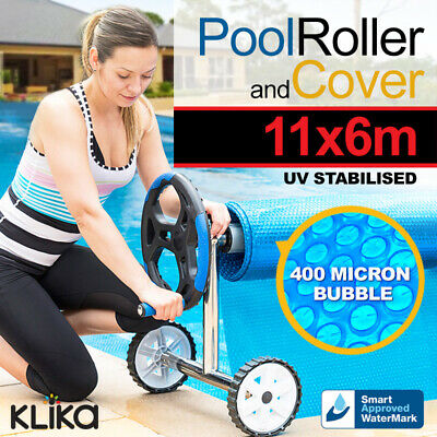 ROLLER + APPROVED 11x6 UV STABILISED SOLAR SWIMMING POOL COVER BUBBLE BLANKET