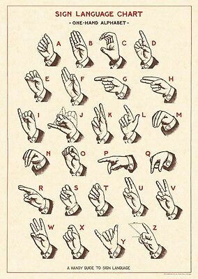 Cavallini Sign Language Chart Flat Wrap