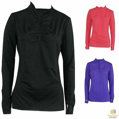 Women's 1/4 Zip Long Sleeve Top Gym Workout Casual Thumb Holes