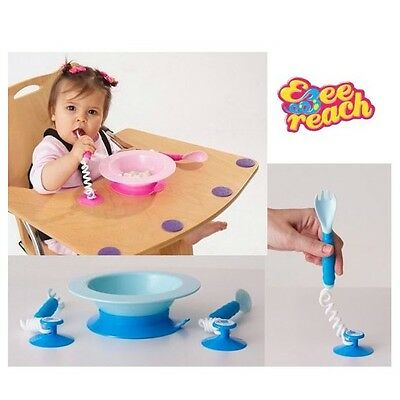Ezee Reach Stay- Put Cutlery + Bowl - PINK